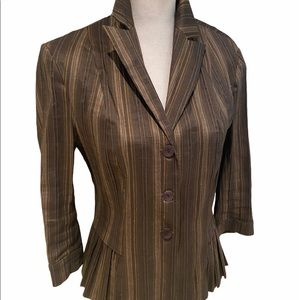 Paris designer Yao Souka stripe linen blend blazer